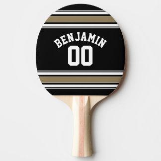 Raquette Tennis De Table Noir du Jersey de sports et nombre nommé de