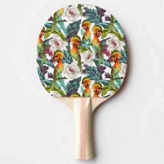 Raquette Tennis De Table Oiseau et motif de fleur exotique