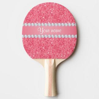Raquette Tennis De Table Paillettes et diamants roses de Faux