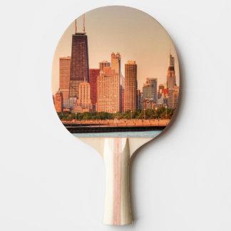 Raquette Tennis De Table Panorama d'horizon de Chicago au lever de soleil