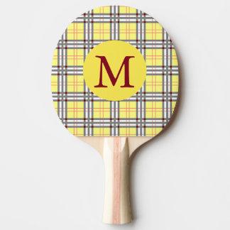 Raquette Tennis De Table Plaid de tartan écossais rouge, gris et jaune