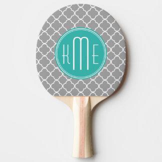 Raquette Tennis De Table Quatrefoil gris avec le monogramme de menthe de