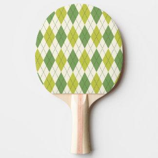 Raquette Tennis De Table Rétro motif à motifs de losanges géométrique vert