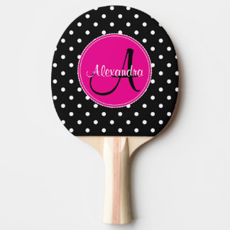 Raquette Tennis De Table Rose noir nommé initial chic décoré d'un