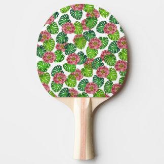 Raquette Tennis De Table Roses et motif de feuille de Monstera