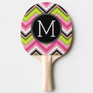 Raquette Tennis De Table Roses indien, chaux et monogramme noir de motif de