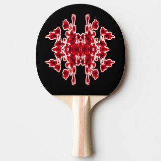 Raquette Tennis De Table Rouge blanc noir floral graphique