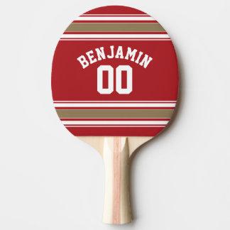 Raquette Tennis De Table Rouge du Jersey de sports et nombre nommé de