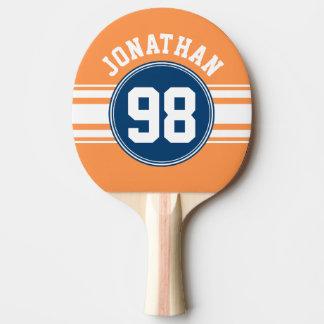 Raquette Tennis De Table Sports nombre nommé de rayures bleues et oranges