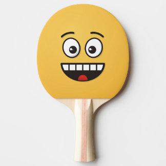 Raquette Tennis De Table Visage de sourire avec la bouche ouverte