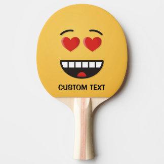 Raquette Tennis De Table Visage de sourire avec les yeux en forme de coeur