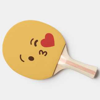 Raquette Tennis De Table Visage souriant drôle. Emoji. Émoticône