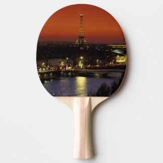 Raquette Tennis De Table Vue de coucher du soleil de la France, Paris de