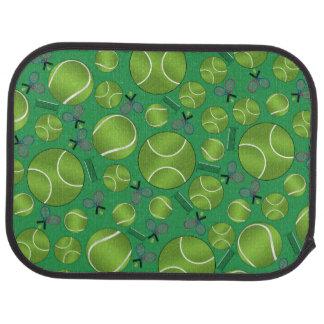 Raquettes et filets verts de balles de tennis tapis de sol