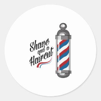 Rasage et coupe de cheveux sticker rond