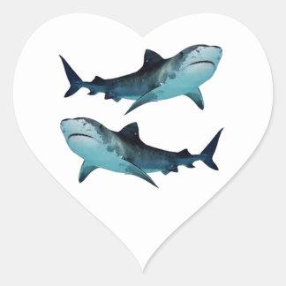 Rassemblement de requin sticker cœur