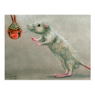 Rat avec Noël rouge de carte postale de cloche