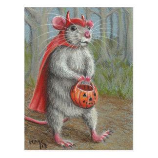 Rat en carte postale de Halloween de costume de