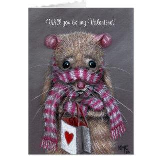 Rat froid avec la carte de Saint-Valentin d'écharp
