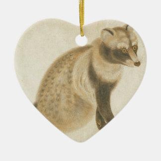Raton laveur japonais ornement cœur en céramique