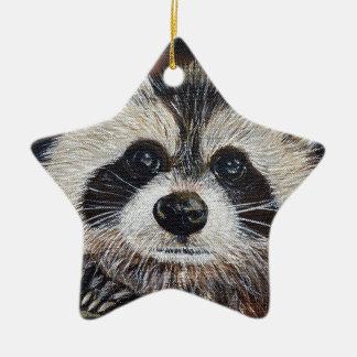 Raton laveur ornement étoile en céramique