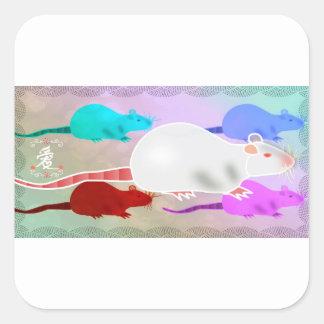 Rats Trippy d'animal familier d'arc-en-ciel de Sticker Carré