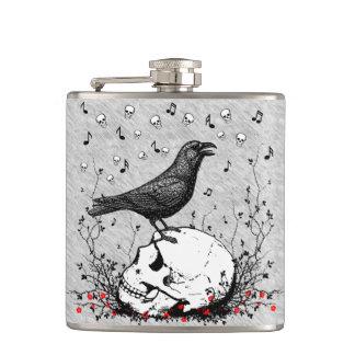 Raven sur l'illustration de crâne flasques