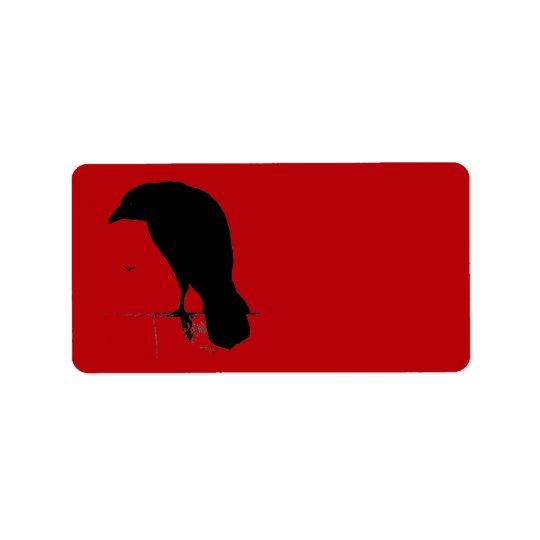 Raven vintage sur le modèle rouge sang étiquette d'adresse