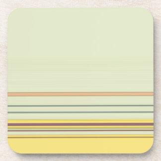 Rayé horizontal simple - jaune et vert dessous-de-verre