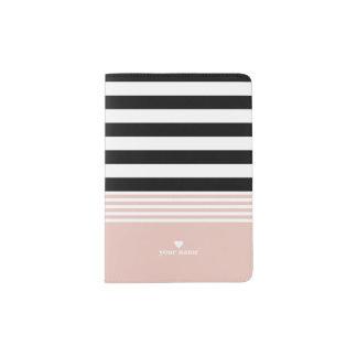 Rayé noir, blanc et rose personnalisé protège-passeport