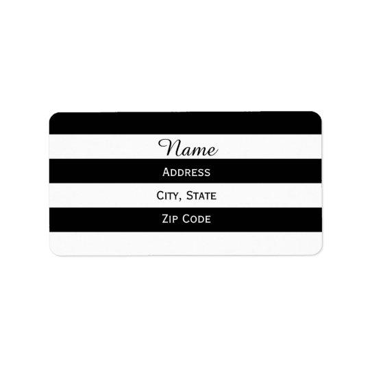 Rayé noir et blanc étiquette d'adresse