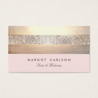 Rayé rose-clair d'or chic et élégant de paillette cartes de visite