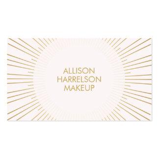 Rayon de soleil d'or sur le maquilleur rose carte de visite standard
