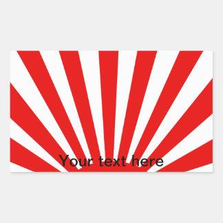 Rayon de soleil japonais rouge sticker en rectangle