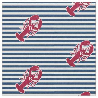 Rayure blanche bleue de monogramme rouge nautique tissu