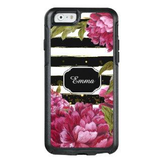 Rayure blanche noire florale de pivoine rose coque OtterBox iPhone 6/6s