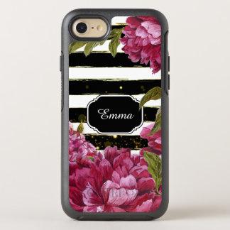 Rayure blanche noire florale de pivoine rose coque otterbox symmetry pour iPhone 7