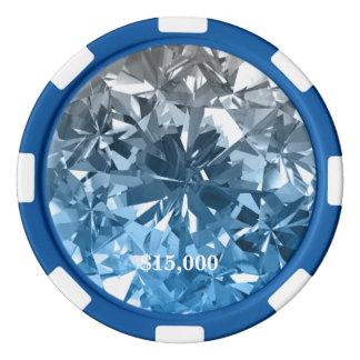 Rayure bleue de jeton de poker de gemme de diamant