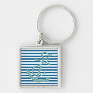 Rayure bleue et blanche turquoise de corde et porte-clé carré argenté