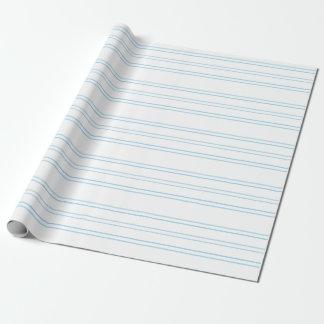 Rayure bleue molle sur le blanc, enveloppe de papier cadeau