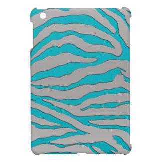 Rayure de zèbre d'Aqua et d'argent Coques Pour iPad Mini