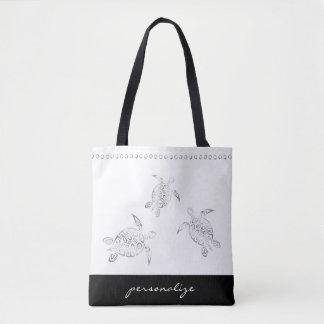 Rayure décorative blanche argentée de tortues de sac