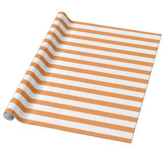 Rayure horizontale orange et blanche papiers cadeaux