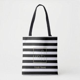 Rayure noire et blanche audacieuse votre or nommé tote bag