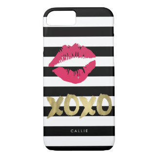 Rayure noire et blanche d'impression rose de lèvre coque iPhone 7