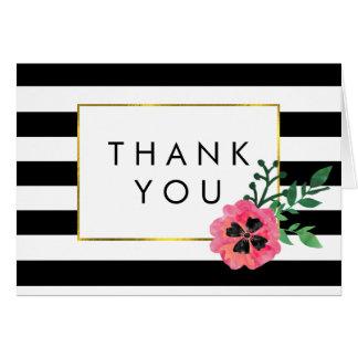 Rayure noire et cartes florales roses de Merci