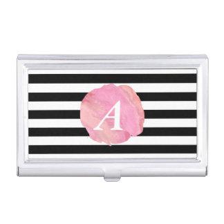 Rayure noire et monogramme rose d'initiale boîtier pour cartes de visite
