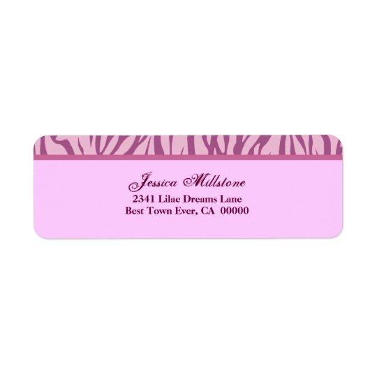 Rayure rose de zèbre étiquette d'adresse retour