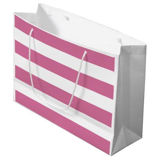 Rayure rose et blanche de douche nuptiale grand sac cadeau