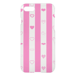 Rayure rose moderne de coeur mignon coque iPhone 8/7